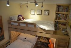 """If i didn't sleep next to the windows of my dining """"room"""" I would totally figure out how to make a loft bed like this."""