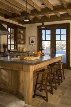 Montana Ski House - rustic - kitchen - new york - Brooks and Falotico Associates, Inc.