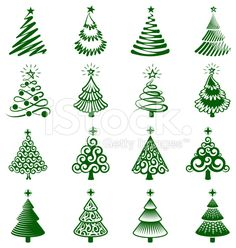 Christmas Trees royalty free vector icon set royalty-free stock vector art