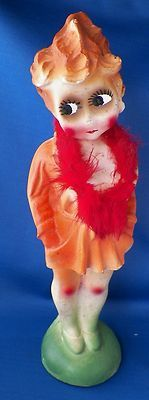 1940's Carnival Chalkware Large Kewpie Risque Redhead Flapper Feather Boa 13"