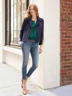 Elevate your ankle skinnies for an office-ready look! A lighter wash will look profesh when paired with a jewel tone tank, cropped outer layer and some classy heels.