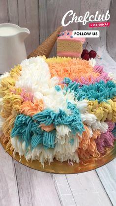 Easy Cake Decorating, Cake Decorating Techniques, Fun Baking Recipes, Dessert Recipes, Comida Diy, Tasty Videos, Food Videos, Rainbow Food, Dessert Decoration