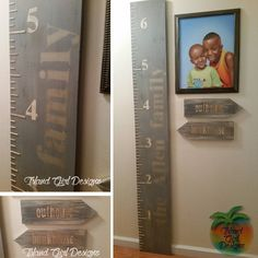 """Wooden growth chart and arrow signs (outhouse / bunkhouse) #growth #growthchart #lookhowbigiam #growingup #funnysign #custommade"""