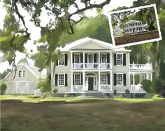 Custom Fine Art Home House Portrait Personalized Oil Painting on Canvas Art Gift