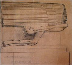If you are not too long, I will wait here for you all my life. Oscar Wilde  - Sir Jacob Epstein - 1880-1959 - Study for the Tomb of Oscar Wilde - ca 1909-11