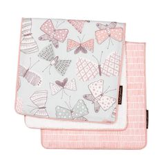 Arden Burp Cloth Set (set of 2) | The pretty, pastel butterfly motif and coordinating matchstick print Arden burp cloths are perfect for on-the-go parents. Soft and absorbent, these sets are a chic necessity.