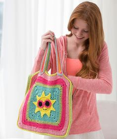 Sunny Day Tote Bag Free Crochet Pattern from Red Heart Yarns