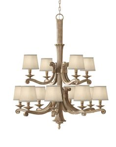 Caution: the Feiss Blaire Multi Tier Chandelier may trick you into thinking it's always a late Sunday afternoon. Home Ceiling, Feiss, Wood Chandelier, Ceiling Lights, Traditional Lighting, Home Lighting, Candle Chandelier, Aging Wood, Large Chandeliers