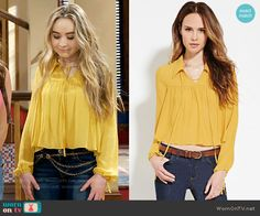 Maya's yellow blouse on Girl Meets World.  Outfit Details: https://wornontv.net/57794/ #GirlMeetsWorld