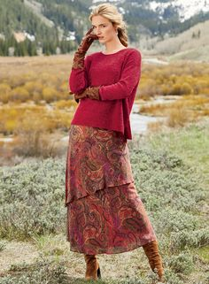 The romantic skirt is printed in spicemarket-hued paisleys and constructed in two layers of rayon and modal georgette. Country Style Outfits, Country Fashion, Maxi Outfits, Fashion Outfits, Women's Fashion, Work Outfits, Fashion Clothes, Clothes For Women Over 50, Clothes Women