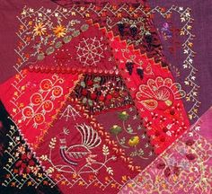 Pretty Red Crazy Quilt Piece