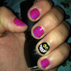 I did my version of Cheshire cat nails :) turned out awesome!  By: Dani nails