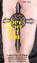 Protection Cross - A black graphic tribal cross is the perfect arrow-like frame for the Celtic protection knot, making a visual statement of the eternal power of faith. This tattoo pattern is available for purchase and immediate download: http://www.luckyfishart.com/prcr.html