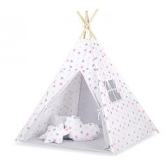 Large Handmade Teepee Kids Baby Play Tent Tipi + mat + pillows: Grey/Pink Stars www.yourtoystore.co.uk Baby Play, Baby Kids, Baby Dekor, Teepee Kids, Pink Stars, Peek A Boos, Toddler Bed, India, Pillows