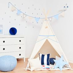 Garland Triangle Bunting Banner Natural Blue by FUNwithMUM on Etsy