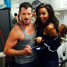 Ian Bohen and Meagan Tandy on the set of Teen Wolf!