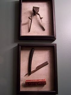 shadow boxes for keepers. could make one with old scissors, combs, color brushes, ect