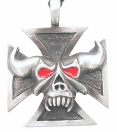 Red Eyes Demon Skull Iron Cross Pewter Pendant Necklace Dan Jewelers. $13.57. Hypoallergenic. Does not tarnish. Dan Jewelers has tens of thousands of positive feedbacks across the internet.. Satisfaction guaranteed.. Good value