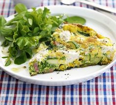 Yum and ever so quick Quick veg & soft cheese frittata