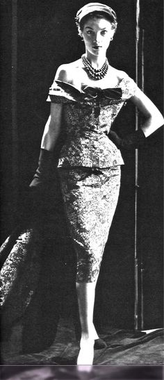 1952 printed faille 'theater suit' by Christian Dior