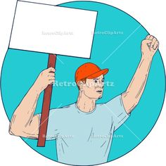 Union Worker Activist Placard Protesting Fist Up Circle Drawing Vector Stock Illustration.  Drawing sketch style illustration of a unionl worker protester activist unionist protesting striking with fist up holding up a placard sign looking to the side set inside circle on isolated background.  #illustration   #UnionWorkerActivistPlacard