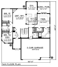 House plans on pinterest 3 car garage house plans and for Ranch floor plans with 3 car garage