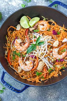 This recipe for Sweet Potato Pad Thai Noodles is the perfect easy 30 minute one pan meal. Best of all, full of all the authentic flavors of the popular restaurant favorite in a grain free version. So delicious and way better and healthier than takeout!
