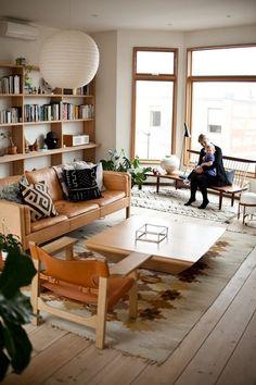 Wood trim, white walls.