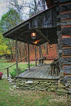 Classic cabin porch and cool lantern.