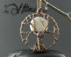 Full Moon Tree of Life Copper Wire Wrapped Pendant by MyWillowGems, $24.00