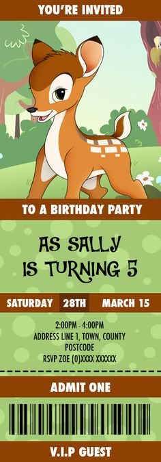 Bambi Birthday Invitation designed by me at Nics Designs.