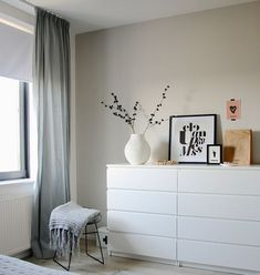 Another grey and white bedroom with a hint of pink. Bedroom by Holly Marder —- white dresser Another grey and white bedroom with a hint of pink. Bedroom by Holly Marder —- white dresser Home Bedroom, Bedroom Interior, Bedroom Design, Room Inspiration, Bedroom Styles, Furniture, Bedroom Decor, White Bedroom, Home Decor