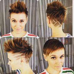 Versatile pixie cut done by Nicole. We love clients that are down for a little fun & edgy cut. #nothingbutpixies #modernsalon #bethesda #pixiecut #iraludwicksalon #shorthair #dmv #mohawk #edgy