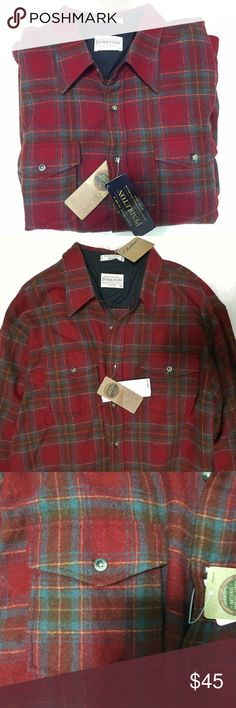 Pendleton Woolen Mills Checkered Outdoor Shirt Brand new with tags, men's XXL. This Pendleton Woolen Mills Checkered Wool Outdoor Field Button Down Shirt is classic Pendleton! A red and blue checkered pattern with yellow interwoven. Pendleton is quality that is made to last. Has 2 front buttoned front pockets. Looks great worn buttoned up or open. Retails for $90! Pendleton Shirts Casual Button Down Shirts