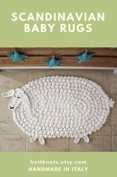 Woodland Lamb Rug Handmade and crocheted in Italy. Scandinavian style rug perfect for a modern space.