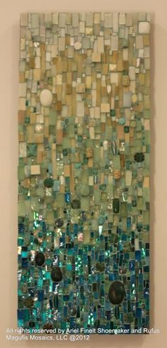 Turquoise gradient mosaic wall art by Ariel Shoemaker