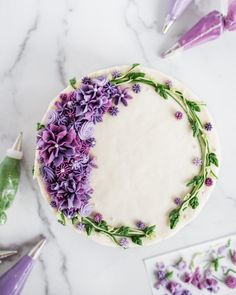 Hydrangea Layer Cake Buttercream Flowers Decorating decorating About Me - . - Hydrangea Layer Cake Buttercream Flowers Decorating decorating About Me – Flour & Floral - Cake Decorating Designs, Wilton Cake Decorating, Cake Decorating Techniques, Cookie Decorating, Buttercream Decorating, Birthday Cake Decorating, Cookie Cake Designs, Pretty Cakes, Cute Cakes