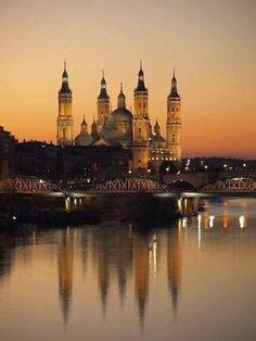 Sunset in Zaragoza, Spain
