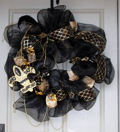 Black and Gold Mesh Saints Wreath