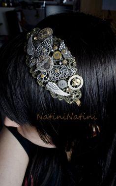 Steampunk butterfly head band by Natini.deviantart.com on @deviantART