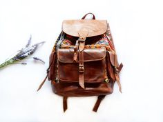 Chestnut Brown Leather Backpack  Tribal / Ethnic Bag by dawnaparis, €119.00