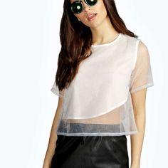 Panel Top See through panel top, very cool look. Boohoo Tops