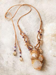 Spirit Quartz crystal healing necklace with Amethyst, Gold Rutile Quartz & clear Quartz #rawcrystaljewelry