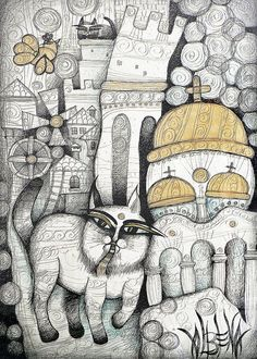 Villages Of My Childhood Drawing by Albena Vatcheva