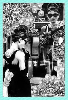 one of my very Best Sellers ever- I can't keep up with these orders! Audrey Hepburn Original Collage Light Switch Plate - handmade original by sharonna misha designs with lots of options including tiffany blue background, 3D pearl and/or rhinestone embellishment...  via www.sharonna.etsy.com  #audreyhepburn #breakfastattiffany's #tiffany