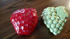 CALIFORNIA POTTERY(2) Wall Pockets Fruit with Strawberry & Grapes Vintage