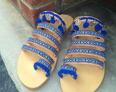 """Hecha a mano de griego de sandalias, sandalias de las mujeres, sandalias boho, sandalias de lazo del dedo del pie, sandalias hippie, decoración de sandalias, sandalias étnicas, """"Santorini"""""""
