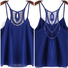 Spaghetti Strap Crochet Chiffon Tank Size Small Brand new without tag. Ordered online but was too big on my chest area. Gorgeous color and great material. Tops Tank Tops