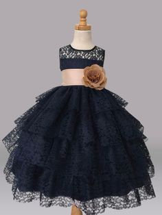 Navy Blue Flower Girl Bridesmaids Summer Easter Pageant by Adore50