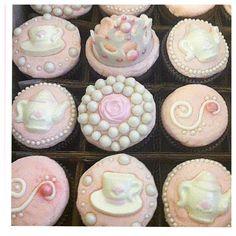 Vintage princess tea party themed cupcakes